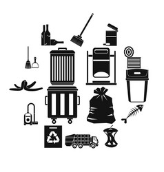 garbage thing icons set simple style vector image