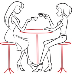 Girlfriends talking in cafe vector image