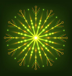 glowing neon snowflake for new year and christmas vector image