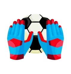 Goalkeeper gloves and a ball icon cartoon style vector