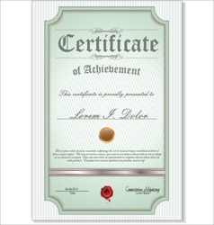 Green detailed certificate vector