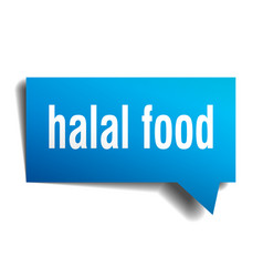 halal food blue 3d speech bubble vector image