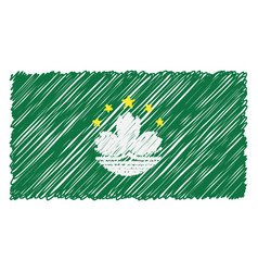 Hand drawn national flag of macau isolated on a vector