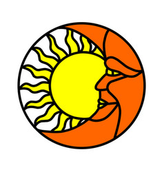 hand drawn sun and moon with human faces in vector image
