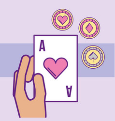 hand holding ace poker card chips casino vector image
