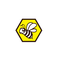 Happy bee fly in a hexagon beehive icon vector