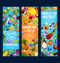 healthy food vitamins and fruits vector image