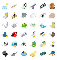 Human intervention icons set isometric style vector
