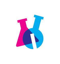 i letter lab laboratory glassware beaker logo icon vector image