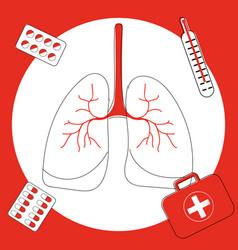 Icon lung disease pneumonia asthma cancer in vector