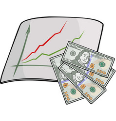 isolated art with dollars and chart vector image