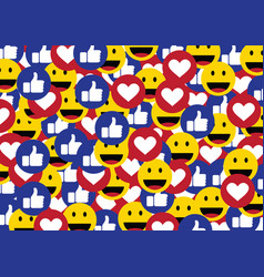 like smile heart emoticon social media background vector image
