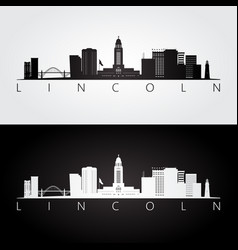 lincoln usa skyline and landmarks silhouette vector image
