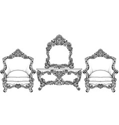living room furniture set baroque armchair with vector image