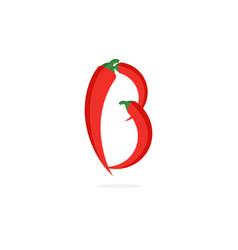 logo red chili pepper letter b vector image