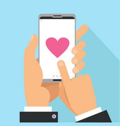 Love sharing concept male hands holding phone vector