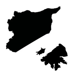 Map syria and damascus country and capital vector