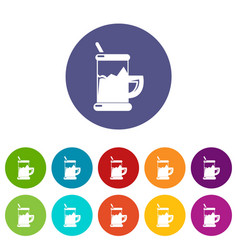 metal glass cup tea icons set color vector image