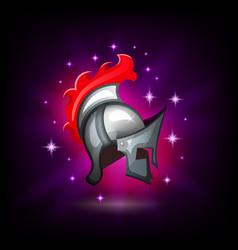 metal roman legionnaire helmet icon for games or vector image