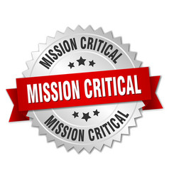 Mission critical round isolated silver badge vector