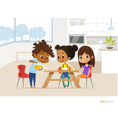 multiracial children preparing lunch by themselves vector image