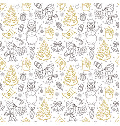 pattern with treesbirdssnowmen vector image