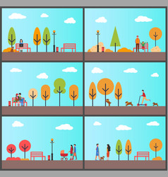people strolling in autumn park with sunny weather vector image
