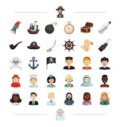 Pirate profession service and other web icon vector