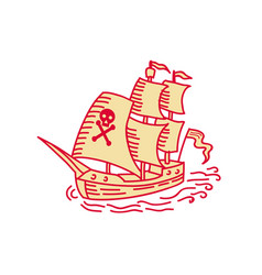 Pirate sailing ship galleon mono line vector