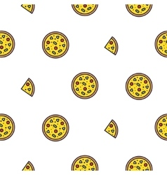 Pizza line icon seamless pattern vector