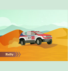 Rally racing flat background vector