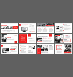 Red and white element for slide infographic on vector