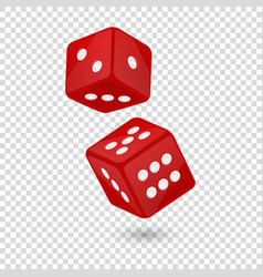 Red realistic game dice vector