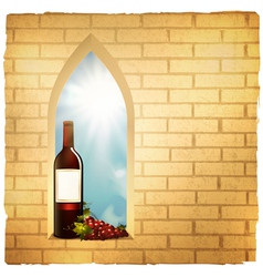 red wine bottle in arc window vector image