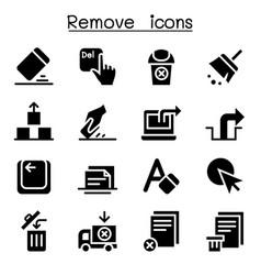 Remove erase delete icon set vector