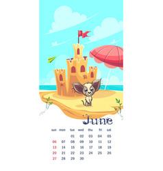Sand castle 2021 calendar june vector