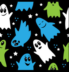 seamless pattern cute funny cartoon ghosts on a vector image