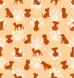 seamless pattern with different breeds of dogs vector image