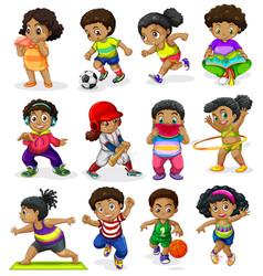 Set african american kids vector