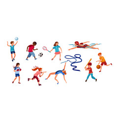 set children doing various kinds sports vector image