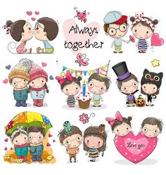 Set cute cartoon boy and girl vector
