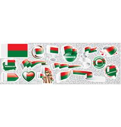 set national flag madagascar in vector image