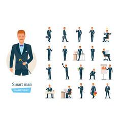 Set smart graceful man cartoon character vector