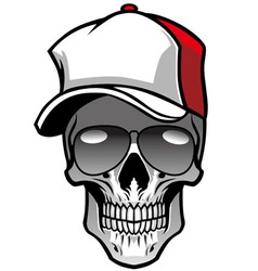 skull wearing hat and sunglasses vector image