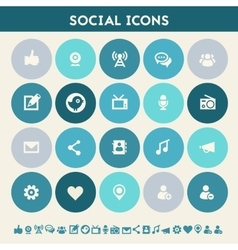 Social icon set Multicolored flat buttons vector image