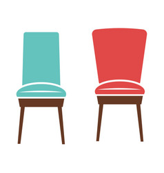 Soft comfortable chairs with wooden legs isolated vector