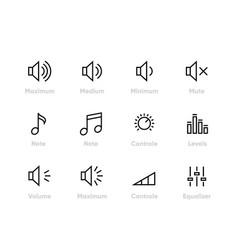 sound volume controls equaliser note levels vector image