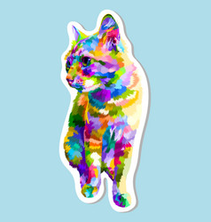 sticker colorful cat sitting looking side vector image