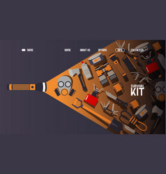 Survival kit inventory website design vector
