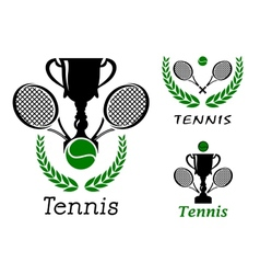 Tennis sporting emblems set vector image